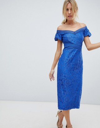 Little Mistress off shoulder lace pencil midi dress