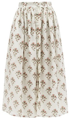 Brock Collection High-rise Floral-print Cotton-blend Skirt - White Print