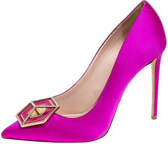 Nicholas Kirkwood Fuchsia Pink Satin Eden Jeweled Pointed Toe Pumps Size 41