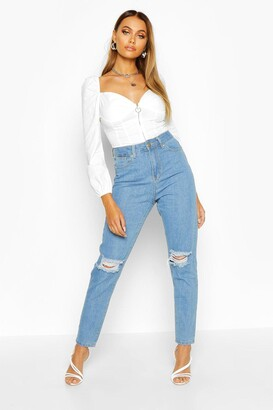 boohoo High Waist Distressed Mom Jeans