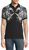 Just Cavalli Bald Eagle & Guitar Graphic Polo Shirt, Medium Gray