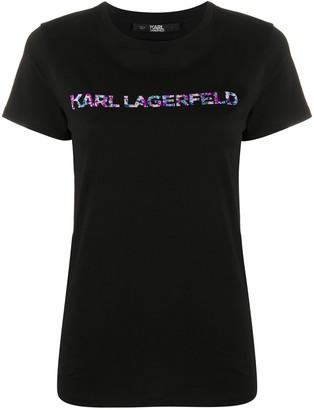 Karl Lagerfeld Paris floral logo print T-shirt