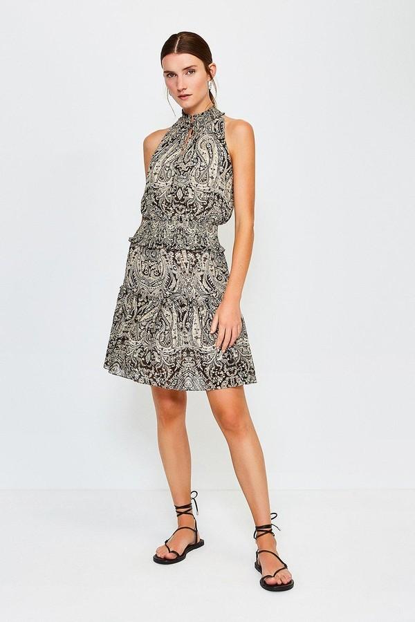 Karen Millen Paisley Print High Neck Short Dress