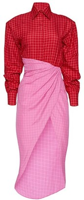 Brandon Maxwell Windowpane Wrapped Shirtdress