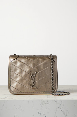 Saint Laurent Niki Mini Quilted Metallic Leather Shoulder Bag - Platinum