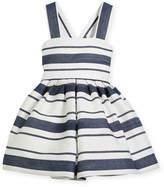 Helena Sophisticated Stripe Cross-Back Dress, Size 12-18 Months