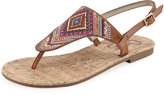 CIRCUS BY SAM EDELMAN Brita Embroidered Studded T-Strap Sandal, Saddle