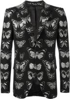 Alexander McQueen moth jacquard blazer - men - Cotton/Polyester/Viscose/Wool - 48