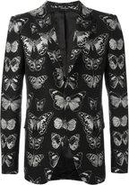Alexander McQueen moth jacquard blazer - men - Wool/Cotton/Polyester/Viscose - 48