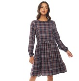 Only You Womens Nadia Long Sleeve Woven Check Dress Night Sky