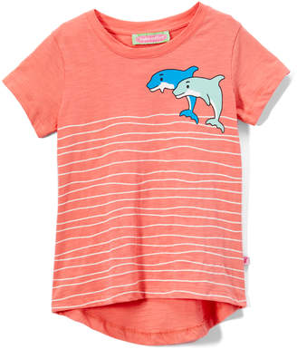 SAM. Sophie & Girls' Tee Shirts Pink - Pink Dolphin Waves Applique Hi-Low Tee - Infant & Toddler
