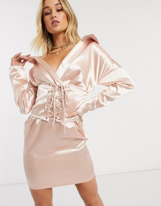 I SAW IT FIRST satin off the shoulder lace up dress in pink