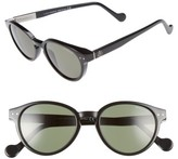 Moncler Women's 50Mm Round Sunglasses - Shiny Black/ Green