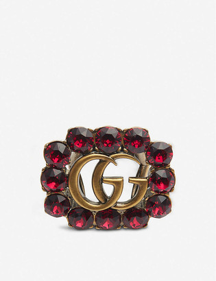 Gucci Marmont gold-toned and crystal ring