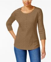 Karen Scott Cotton Lace-Front Henley Top, Only at Macy's