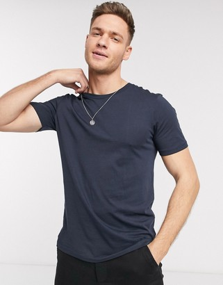 Selected 'The Perfect Tee' pima cotton t-shirt in navy
