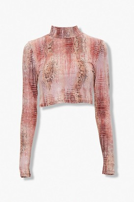 Forever 21 Faux Snakeskin Mock Neck Top