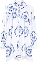 Simone Rocha oversized floral-embroidered shirt