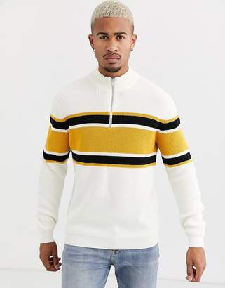 ONLY & SONS quarter zip jumper in white with chest stripe-Black