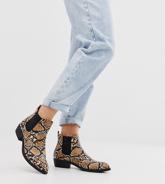 Park Lane wide fit heeled western boots in snake