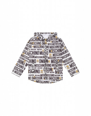 Moschino Teddy Logo All Over Windbreaker Unisex White Size 4a It - (4y Us)