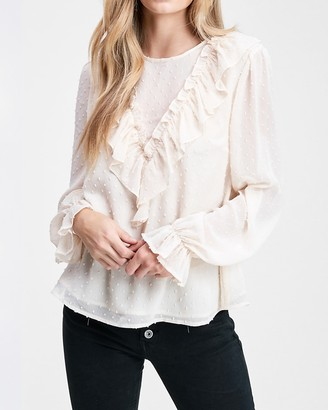 Express En Saison Ruffle Chiffon Swiss Dot Long Sleeve Top