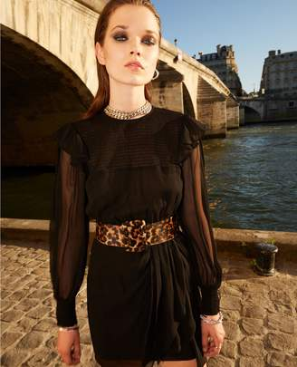 The Kooples Short black dress with smocking at the top