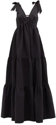 Brock Collection Raniera Tiered Cotton-blend Poplin Dress - Black
