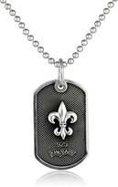 "King Baby Studio 22"" Curb Link Chain with Small Fleur De Lis Sterling Dog Tag Pendant Necklace"