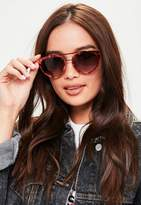 Missguided Bronze Cat Eye Sunglasses, Brown