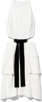 Proenza Schouler Viscose Crepe Sleeveless Cut Out Dress in Off White