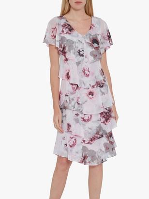 Gina Bacconi Gosia Floral Tiered Dress, Pink/Multi