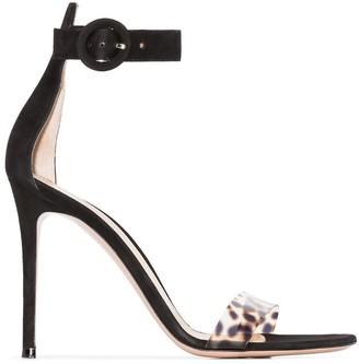 Gianvito Rossi black and leopard print Portofino 105 suede sandals