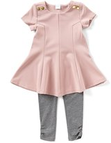 Edgehill Collection Little Girls 2T-4T Short-Sleeve Tunic Top & Knit Leggings Set