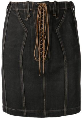 Alaïa Pre-Owned High-Waist Denim Skirt