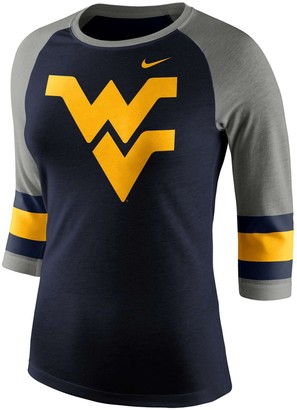 Nike Women's Heathered Navy West Virginia Mountaineers Sleeve Stripe Raglan 3/4 Sleeve Tri-Blend T-Shirt