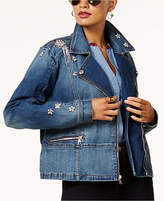INC International Concepts Anna Sui Loves Embellished Denim Moto Jacket, Created for Macy's