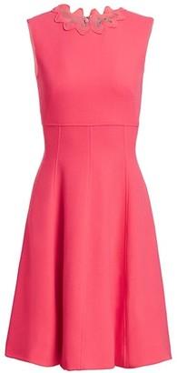 Lela Rose Wave-Trimmed Stretch-Wool Dress