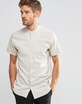 Selected Short Sleeve Grandad Shirt In Slim Fit