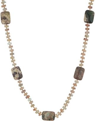 "20"" Opaque Jasper Nugget Bead Necklace, Sterling"