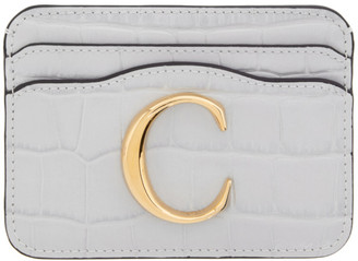 Chloé Taupe Croc C Card Holder