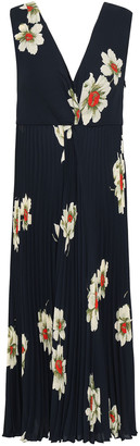 Vince Floral-print Pleated Crepe Midi Dress