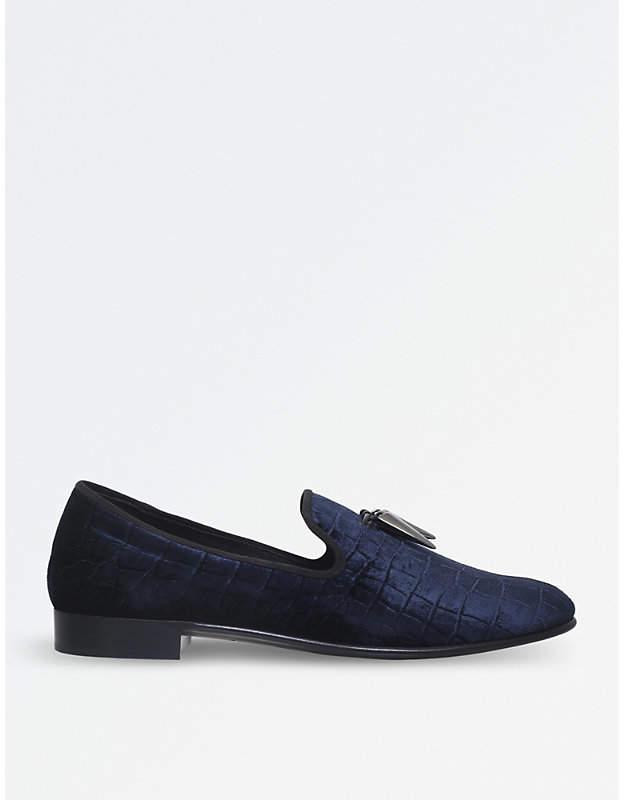 Giuseppe Zanotti Spacey croc-embossed velvet slippers