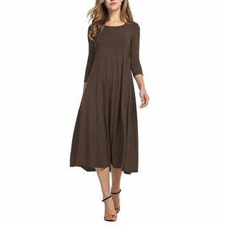 Copaul Hot Casual Women Solid Color O Neck 3/4 Sleeve Waist Tight Large Swing Midi Dress O Neck 3/4 Sleeve Waist Tight Large Swing Midi Beige