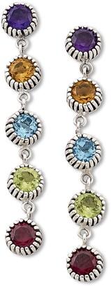 Samuel B. Sterling Silver 5 Round Stone Drop Multi Gemstone Earrings