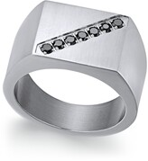 Thumbnail for your product : Sutton by Rhona Sutton Men's Stainless Steel Black Cubic Zirconia Ring