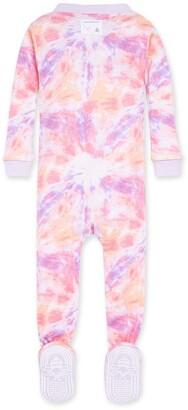 Burt's Bees Printed Tie Dye Organic Baby Zip Front Snug Fit Footed Pajamas