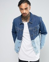 Asos Denim Jacket with Contrast Panel in Blue