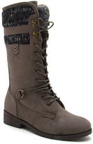Qupid Taupe Plateau Fleece-Lined Lace-Up Boot