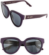 B Brian Atwood 52mm Oval Leather Sunglasses